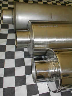 HIGH PERFORMANCE TURBO DIESEL MUFFLERS, Materials; Aluminzed, Stainless Steel and Highly Polished Stainless Steel. | Copyright 2009 a1customs.com |